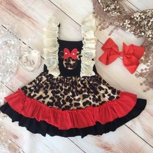 Other - Boutique Girls Ruffle Minnie Dress & Bow